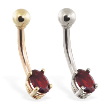 14K Gold belly ring with small dark red oval CZ