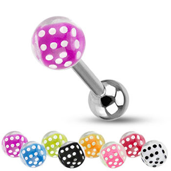 Straight barbell with acrylic dice bubble ball, 14 ga