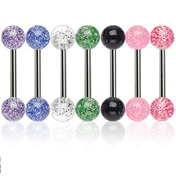 Straight barbell with ultra glitter balls, 14 ga
