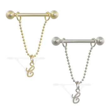 14K Gold nipple ring with dangling cursive initial C, 14 ga