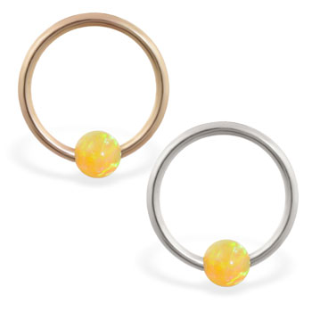 14K Gold captive bead ring with yellow opal ball