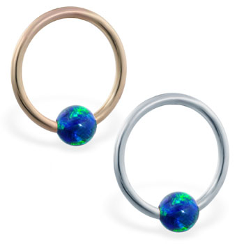 14K Gold captive bead ring with blue green opal ball