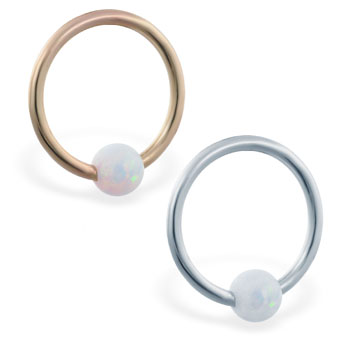 14K Gold captive bead ring with white opal ball