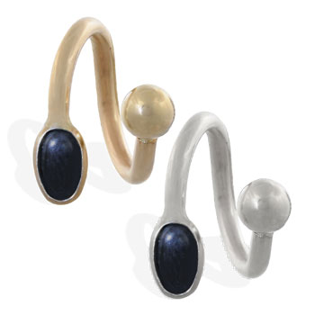 14K Gold Twister Barbell with Black Onyx Cabochon Gem, 14 Ga