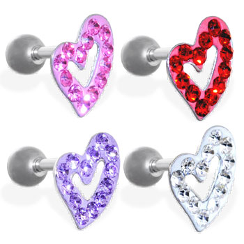 Steel cartilage barbell with jeweled heart top, 16 ga