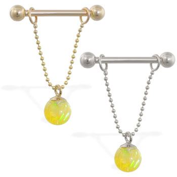 14K Gold nipple ring with dangling yellow opal ball on chain, 14 ga