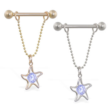 14K Gold nipple ring with dangling jeweled star on chain, 14 ga