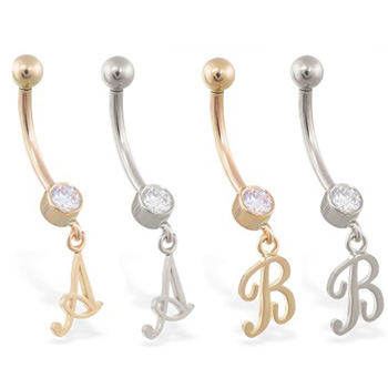 14K Gold belly ring with dangling script initial