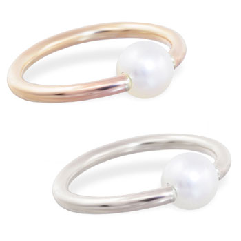 14K Gold captive bead ring with Round White Akoya Pearls, Grade AA