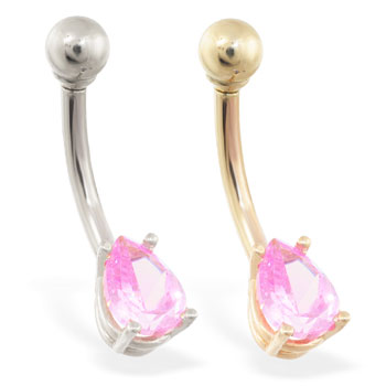 14K Gold belly ring with small pink teardrop CZ