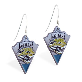 Sterling Silver Earrings With Official Licensed Pewter NFL Charm, Jacksonville Jaguars
