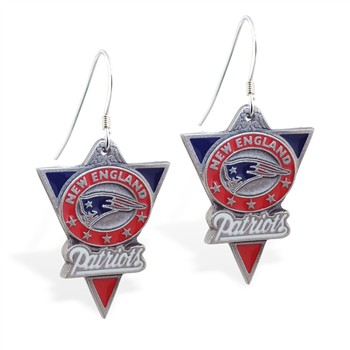Sterling Silver Earrings With Official Licensed Pewter NFL Charm, New England Patriots
