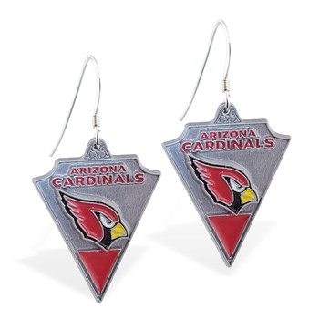 Sterling Silver Earrings With Official Licensed Pewter NFL Charm, Arizona Cardinals