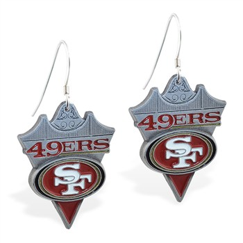 Sterling Silver Earrings With Offical Licensed NFL Charm, San Francisco 49Ers