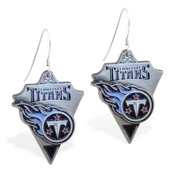 Sterling Silver Earrings With Official Licensed Pewter NFL Charm, Tennessee Titans