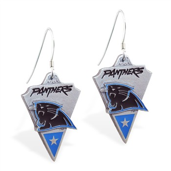 Sterling Silver Earrings With Official Licensed Pewter NFL Charm, Carolina Panthers