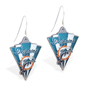 Sterling Silver Earrings With Official Licensed Pewter NFL Charm, Miami Dolphins