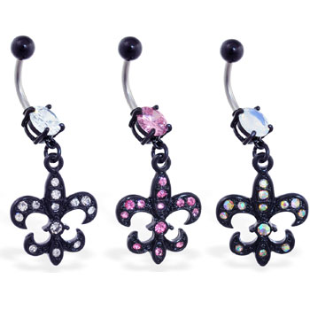 Belly ring with dangling black coated jeweled Fleur-De-Lis