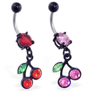 Belly ring with dangling black coated cherries