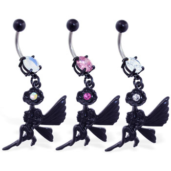 Navel ring with dangling black coated flower and fairy