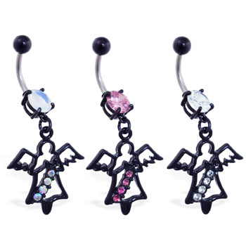 Navel Ring with Dangling Black Coated Angel