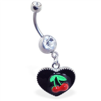 Dangling heart belly ring with cherries