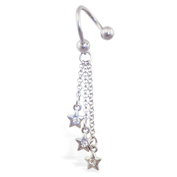 Twister barbell with dangling jeweled stars on chains