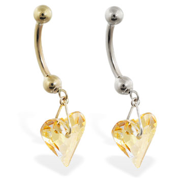 14K Gold belly ring with dangling swarovski yellow crystal heart