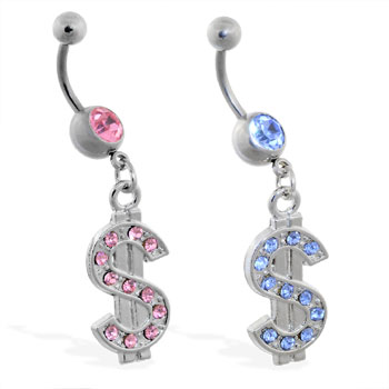 Belly ring with dangling jeweled dollar sign