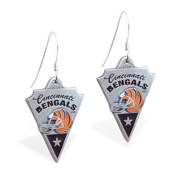 Sterling Silver Earrings With Official Licensed Pewter NFL Charm, Cincinnati Bengals