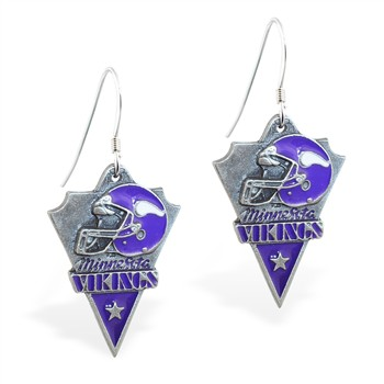 Sterling Silver Earrings With Official Licensed Pewter NFL Charm, Minnesota Vikings
