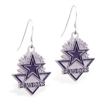 Sterling Silver Earrings With Official Licensed Pewter NFL Charm, Dallas Cowboys