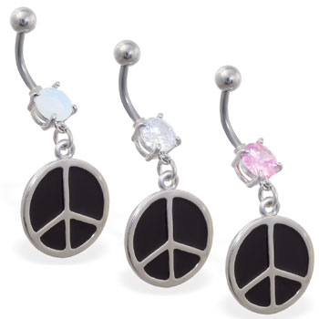 Jeweled belly button ring with dangling peace sign