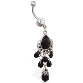 Large black stone chandelier belly ring