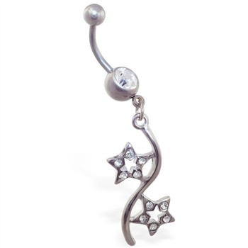 Belly button ring with jeweled double star dangle