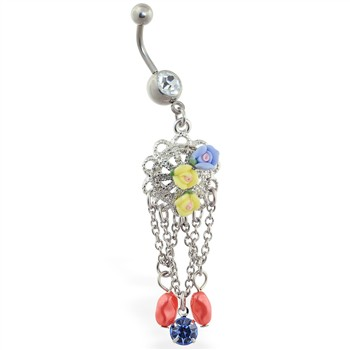 Jeweled belly ring with flower dangles and chains