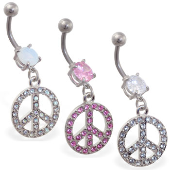 Belly ring with dangling jeweled peace sign