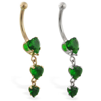 14K Gold belly ring with triple heart emerald CZ dangle
