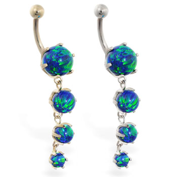 14K Gold belly ring with quadruple blue green opal dangle