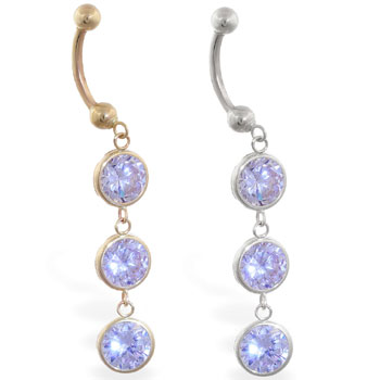 14K Gold belly ring with triple dangling round lavender