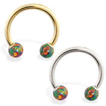 14K Gold Horseshoe/Circular Barbell with Rainbow Opal Balls