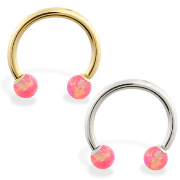 14K Gold Horseshoe/Circular Barbell with Pink Opal Balls