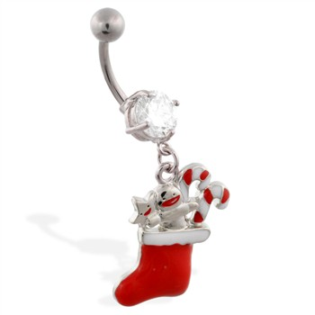 Christmas Belly Ring with Dangling Stocking