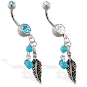 Navel ring with dangling feather and turquoise colored balls