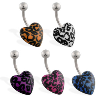 Navel ring with leopard print heart