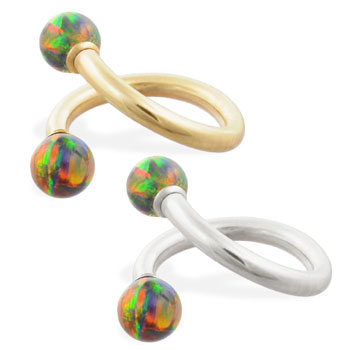14K Gold twister barbell with Rainbow opal balls , 14ga