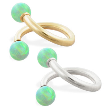 14K Gold twister barbell with Green opal balls , 14ga