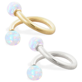 14K Gold twister barbell with White opal balls , 14ga