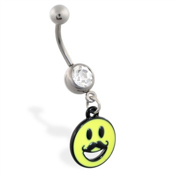 Jeweled belly ring with Dangling Smiley Face with Mustache