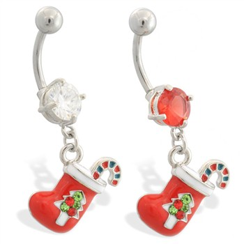 Christmas Belly Ring with Dangling Jeweled Stocking